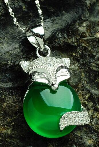 Fashion Pure 925 Sterling Silver Green Chinese 100% Natural /Jadeite Fox Pendant With Certificate fashion pure 925 sterling silver green chinese 100% natural jadeite pendant with certificate