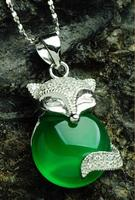 Fashion Pure 925 Sterling Silver Green Chinese 100% Natural /Jadeite Fox Pendant With Certificate