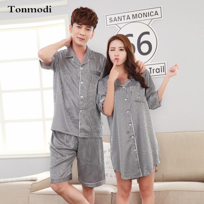 revisa calidad de marca venta en línea € 26.58 |Pijamas para parejas amor pijamas de seda hombres mujeres pijamas  de verano pijama conjunto de camisón de seda para mujer-in Sets de pijamas  ...