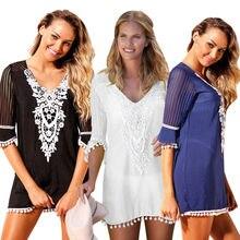 Women Summer Lace Dress Crochet Bikini Cover Up SexyHoliday Beachwear Beach