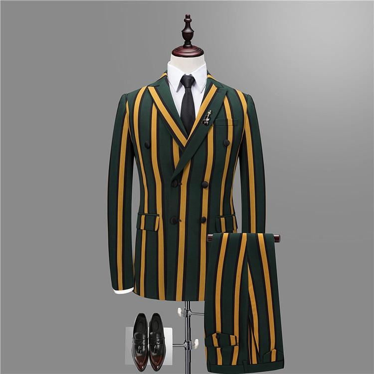 FOLOBE Linee Modello A Strisce degli uomini del Vestito 2018 di Modo Casual Formale Ufficio Giacche Sposo Weddomh Vestiti Cappotto (Jacket + vest + Pant)