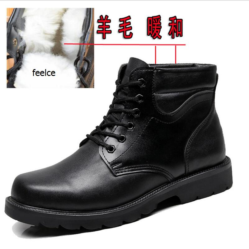 AIKE Asi 2018 winter new men's wool cotton boots leather strap thick non-slip Martin boots wool warm business men's high boots fall and winter girls boots knitted wool boots elastic cotton cloth boots