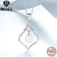 BISAER 925 Sterling Silver Luxury Magic Rhythm Box Freshwater Pearl Pendant Necklaces For Women Sterling Silver