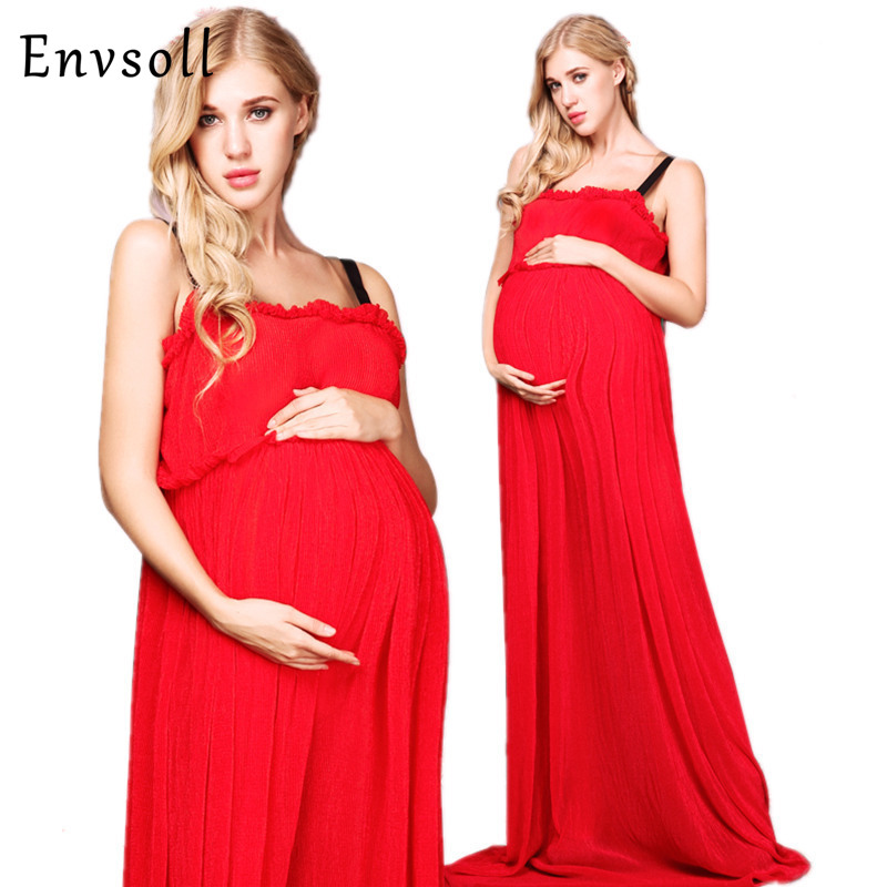 Envsoll Red Maternity Dresses Maternity Photography Props Maternity Dresses For Photo Shoot Maxi Maternity Clothing Plus Size plus size funnel collar maxi asymmetric hoodie