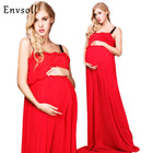 Envsoll Red Maternity Dresses Maternity Photography Props Maternity Dresses For Photo Shoot Maxi Maternity Clothing Plus Size
