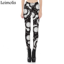 Leimolis adventure time punk rock Harajuku black milk push up fitness sexy gothic 3d print white Sun Moon women leggings