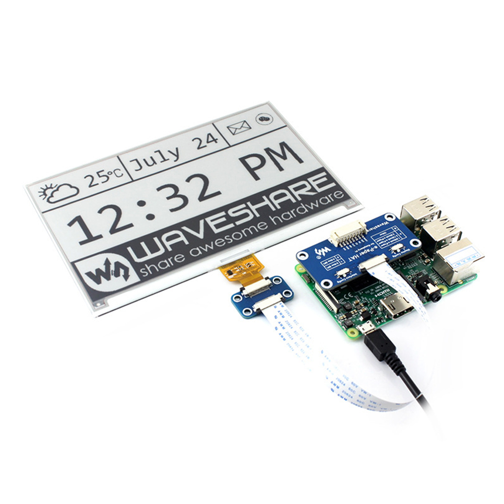 7.5 pouces 640x384 bicolore faible puissance électronique clair e-paper chapeau accessoires e-ink Module d'affichage Interface SPI pour Raspberry Pi