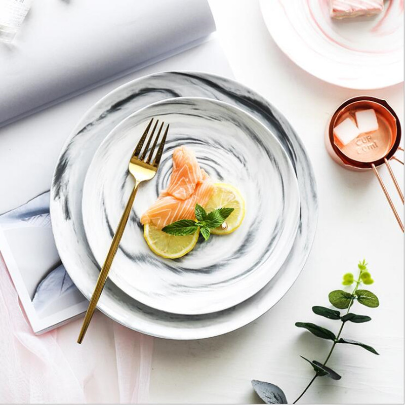 Nordic Natural Marble Ceramic Dish Cake Bread Fruit Containter Breakfast Plate Western Steak Pizza Plate 1PC in Dishes Plates from Home Garden
