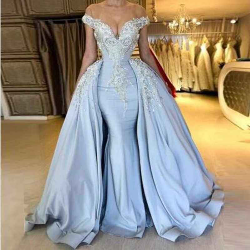 Ice Blue Long Evening Dress 2019 Vestidos Largos Evening Dresses Detachable Skirt Abendkleider Modest Evening Gown Appliques