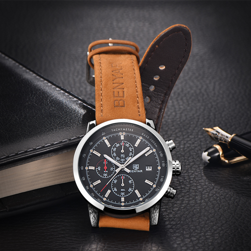 BENYAR Fashion Chronograph Sport Mens Watches Top Brand Luxury Quartz Watch Reloj Hombre saat Clock Male hour relogio Masculino 5