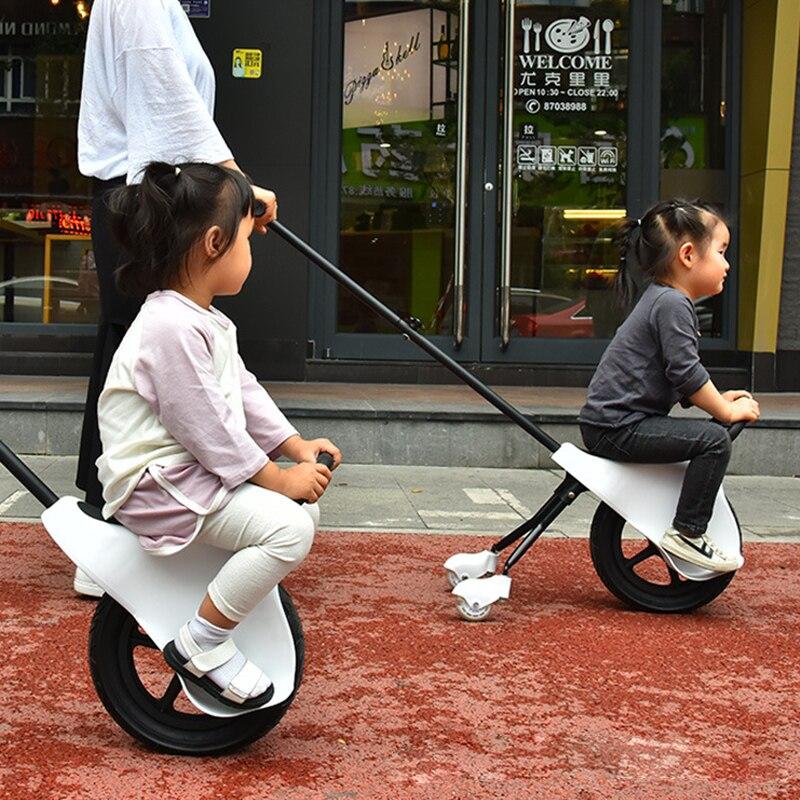 Poids léger facile à plier la main des enfants pousser Balance voiture enfant Tricycle poussette trois roues bébé panier pneu épais 2-5Y