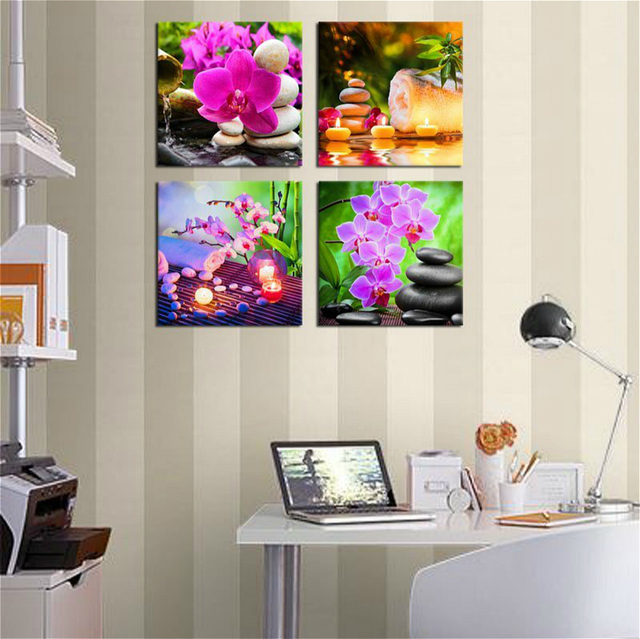 Us 15 96 16 Off Zen Wall Art Canvas Prints Spa Stone Green Bamboo Pink Waterlily Frangipani Picture Artwork Painting For Home Office Wall Decor In