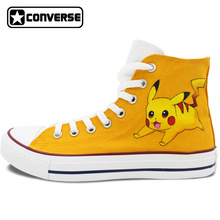Pokemon Go Pikachu Custom Design Hand Painted font b Shoes b font Boys Girls Converse All