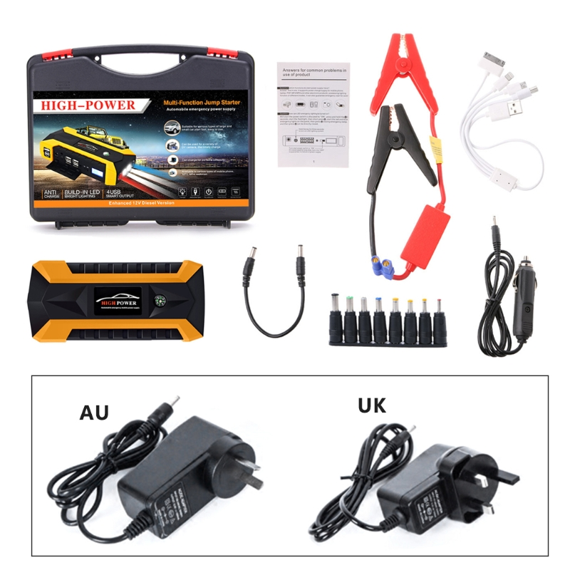 New 1 Set 89800mAh 4 USB Portable Auto Car Jump Starter Pack Booster Charger Battery Power Bank UK / AU Plug DC 12VNew 1 Set 89800mAh 4 USB Portable Auto Car Jump Starter Pack Booster Charger Battery Power Bank UK / AU Plug DC 12V