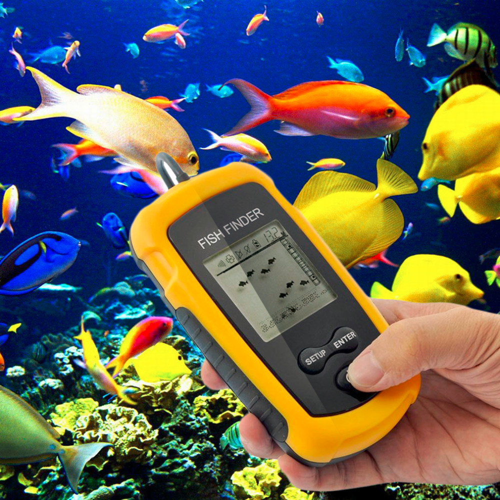 Portable Fish Finder Sonar Sounder Alarm Transducer Fishfinder 0.7-100m fishing echo sounder with Battery with English Display brand portable waterproof wire fish finder lcd monitor sonar sounder alarm fishfinder 2 feet to 328 feet echo fishing finder