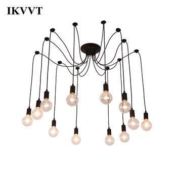 IKVVT Edison żarówka lampy Metal żyrandol w stylu Vintage Loft antyczne regulowany DIY E27 sztuki pająk sufitowa oprawa oświetleniowa