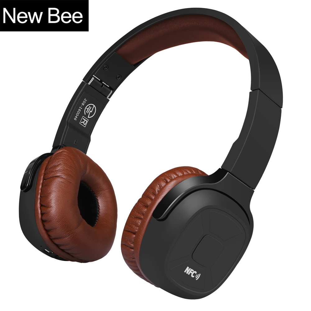 New Bee Upgraded Wireless Bluetooth Headphones Hifi Sport Headset with Case Pedometer App Mic NFC Earphone Stand for Phone PC wireless bluetooth headphones sport stereo headset deep bass earphone with microphone nfc app pedometer earbud case for phone pc