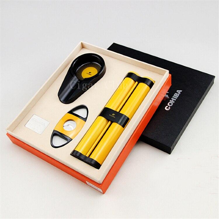 COHIBA Luxury Gadgets Yellow Metal Protable Travel Cigar Tube Holder 2 Cigarts Humidor with Sharp Metal Cutter Ashtray Gift Set
