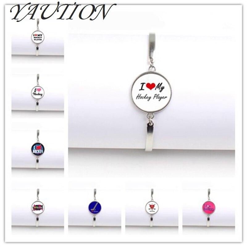 Jewelry brand Keep Calm and Love bracelet glass cabochon field dome Hockey hockey player jewelry charms bracelets gift