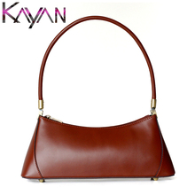Italy Vintage Women Handbag Cow Leather Long Capacity Shoulder Bag Small Minority Baguette Female