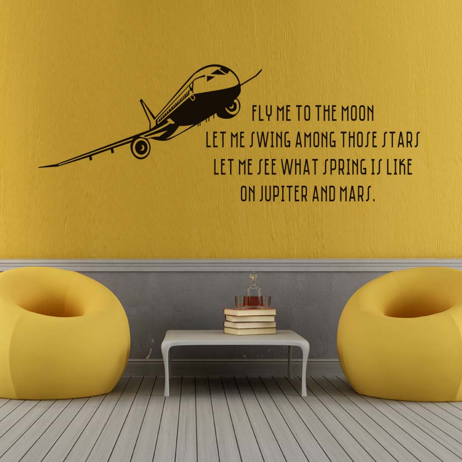 Fly Me To The Moon Removable Airplane Wall Sticker Waterproof Self ...