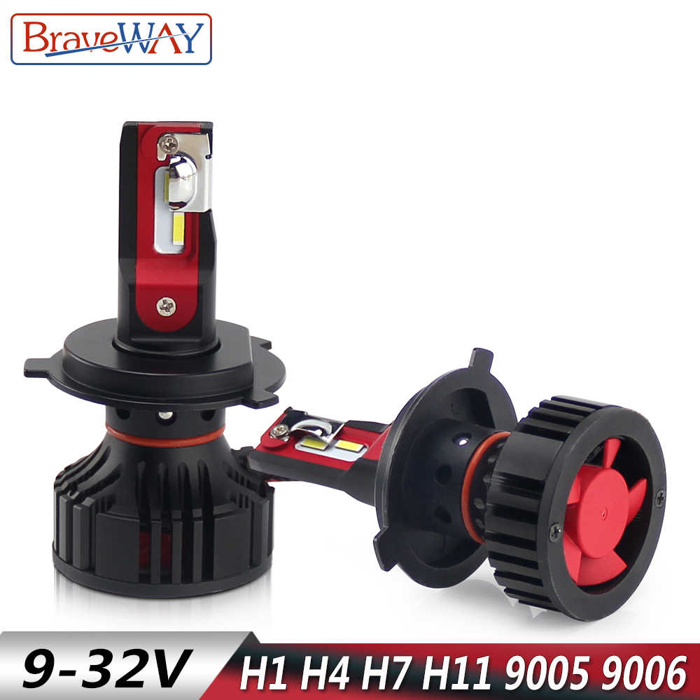 BraveWay LED Headlight for Car H1 H4 H7 H11 HB3 HB4 9005 9006 Turbo Led Light Bulbs for Auto H7 Led Canbus Ice Bulb Lamp 12000LM