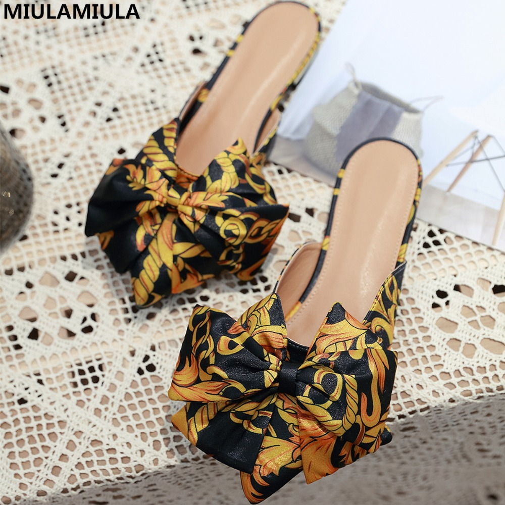 MIULAMIULA Brand Designers 2019 Spring Silk Butterfly knot Woman Point Shoes Flat Slides Slip On Loafers Mules Flip Flops 35 41