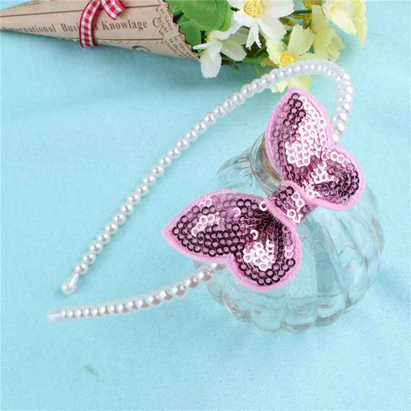 2018 New Kids Pink Butterfly Hairbands Children Girls Cute Pearl Headband Birthday Hair Clips Accessories Paillette Hairpins 1 set new girls colorful carton hair clips small crabs hair claw clips mini hairpin kids hair ornaments claw clip