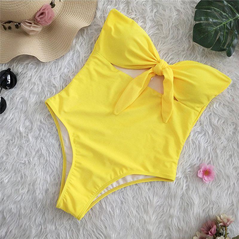 Sexy 2019 Ladies Retro High Waist Swimwear Women One piece Swimsuit Female Bandeau Front Tie Cut Out Swim Bathing Suit Monokini