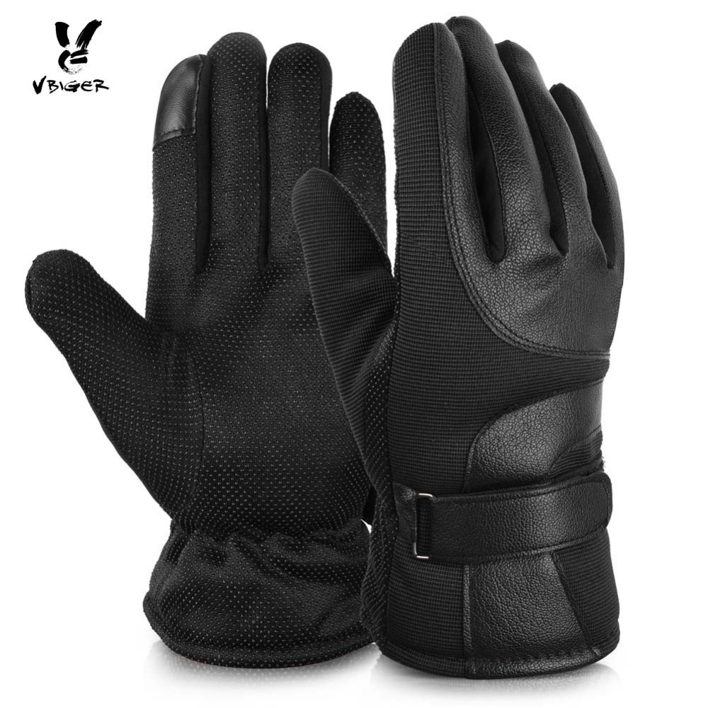 Vbiger Men Thickened Gloves PU Leather Touch Screen Outdoor Driving Gloves Plush Cuff Full-finger Anti-skid Gloves Mitten