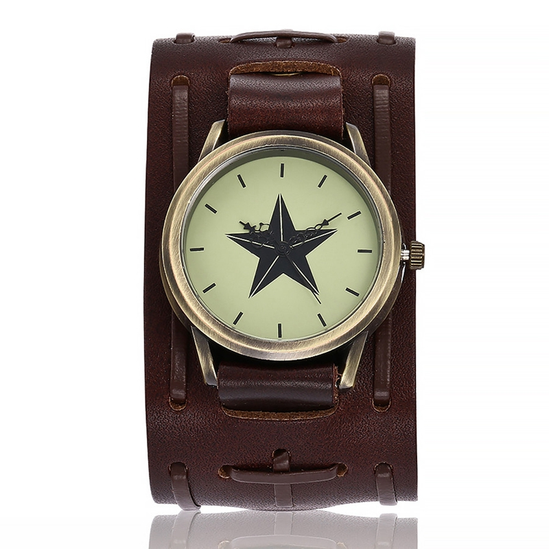 New Watch Men Retro Design Leather Band Stars Analog Alloy Quartz Wrist Watch Relogio masculino montre homme dropship C905