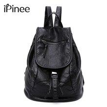 iPinee Fashion Wash Leather Backpack Women Bags Preppy Style Backpack Girls School Bags Drawstring Shoulder Women