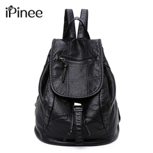 iPinee Fashion Wash Leather Backpack Women Bags Preppy Style Backpack Girls School Bags Drawstring Shoulder Women's Back Pack