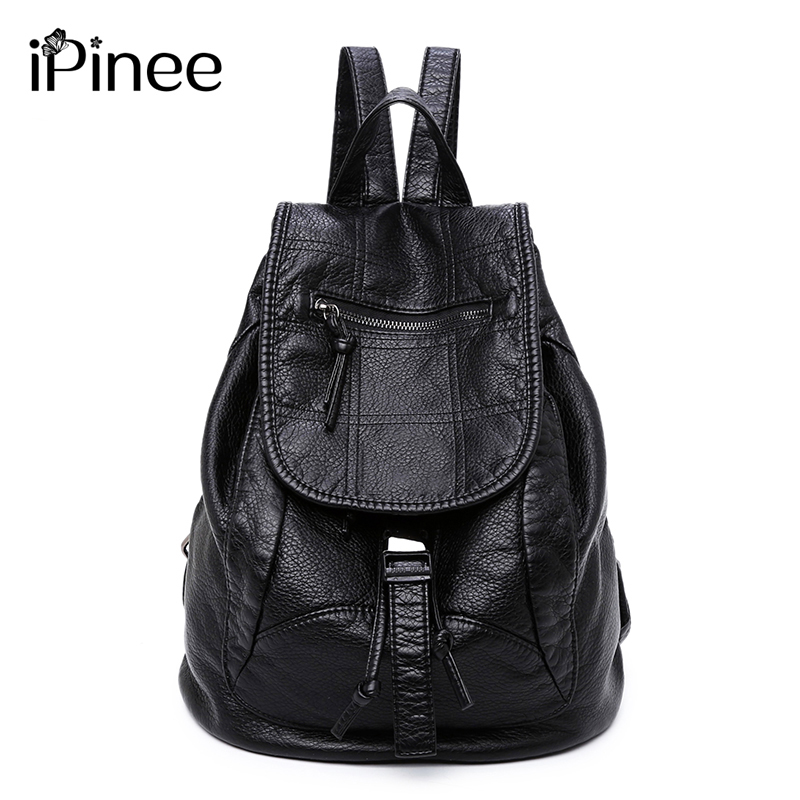 iPinee Fashion Wash Leather Backpack Women Bags Preppy Style Backpack Girls School Bags Drawstring Shoulder Womens Back Pack