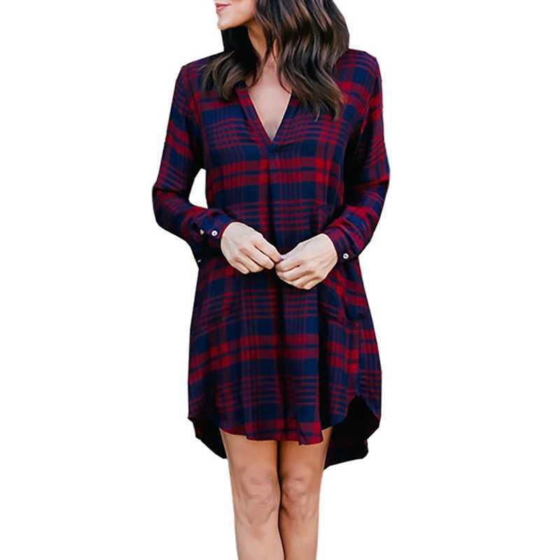 2 color women s V-neck long-sleeved red tartan checks checkered plaid shirt  dress 008609e89