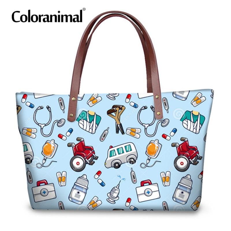 Coloranimal Fashion Women Handbag Casual Large Shopper Bag Woman's Leisure Messenger Bag 3D Nurse Bear Print Women Tote Pouch