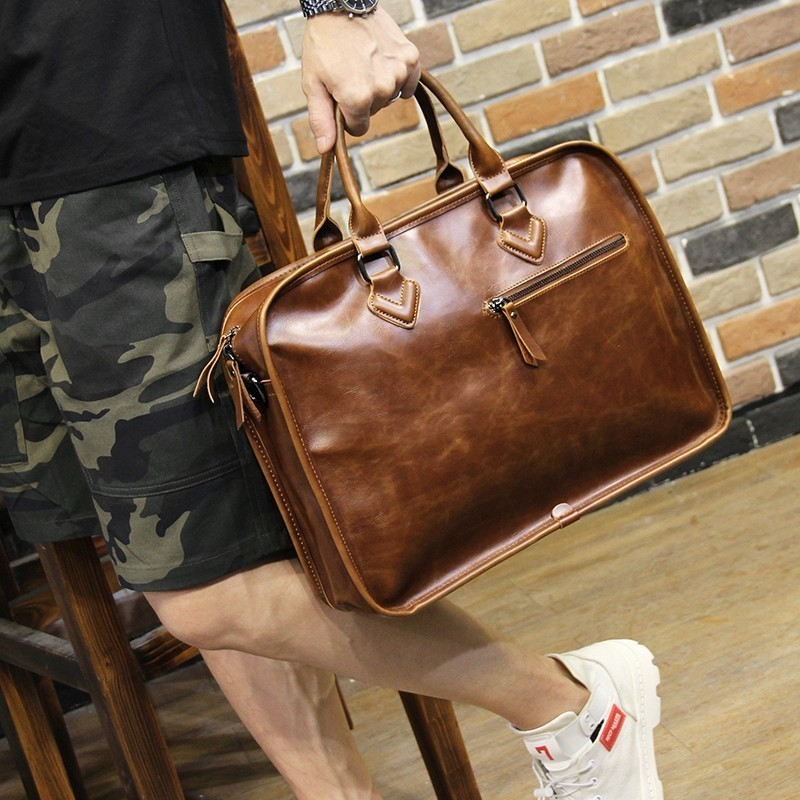 Men Briefcase Crazy Horse PU Leather Bolso Hombre Vintage Business Laptop Handbag Messenger Shoulder Bag Man Bolsa Masculina