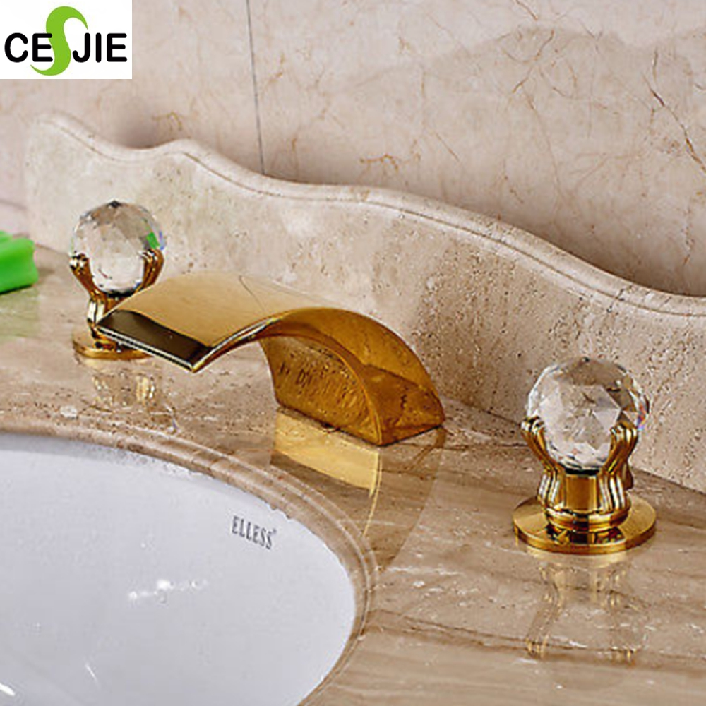 Brass Golden Finish Bathroom Tub Faucet Dual Crystal Handles Deck Mount Mixer