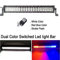 22INCH 120W Dual Color White 6000K , Red Blue Strobeflash Remote Led Light Bar Offroad Emergency Warning Offroad SUV Trucks