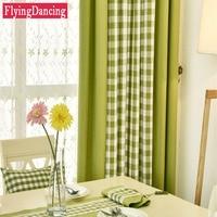 מודרני פשתן וילונות וילונות לסלון שחור לבן משובץ משובץ לבן ירוק תחרה משותף חלון וילונות וילונות עבור חדר שינה