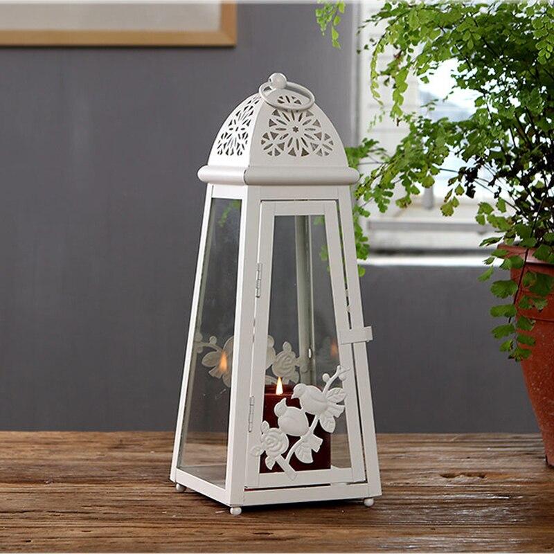 Accents américains mariages faveurs deux oiseaux sur la conception de branche lanterne de bougie en fer blanc Beige avec porte en verre et côtés