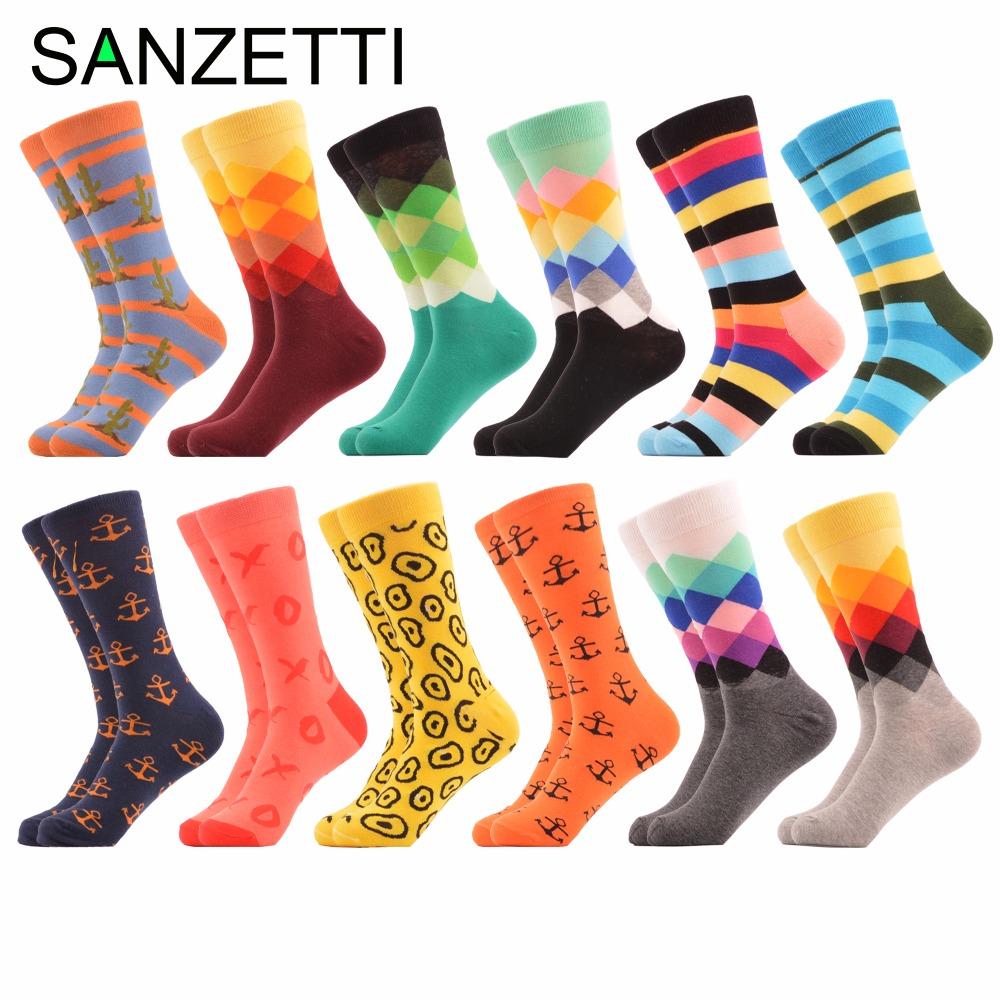 SANZETTI 12 pairs/lot Mens Dozen of Combed Cotton Socks Argyle Striped Casual Crew Socks Party Dress Happy socks Wedding Gift