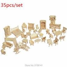 New arrive 35 pcs/set  wood Furniture toys  miniature chair miniature dollhouse furniture accessories Develop intelligence