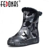 Moda Kobiety Snow Boots Warm Wool FEDONAS Oryginalne Skórzane Buty Zimowe Buty Kobieta Platforma Złoto Srebro Botki Duży Rozmiar