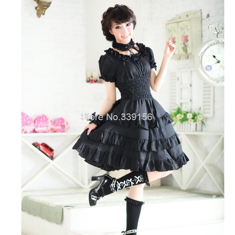 Cheap New Lovely Gothic Lolita Dress Short Sleever Square Collar Cotton Sweet Lolita Dress Girl's Party Dresses