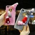Симпатичные Крышка Телефона Для iPhone 6 6 S 7 Плюс Случае Вязаная Шапка шляпа Кулон Furry Случаи Телефона Для iPhone 7 6 6 S Пластиковые Женщины Coque