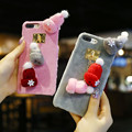 Cute Phone Cover For iPhone 6 6S 7 Plus Case Knitted Beanie Hat Pendant Furry Phone Cases For iPhone 7 6 6S Plastic Women Coque