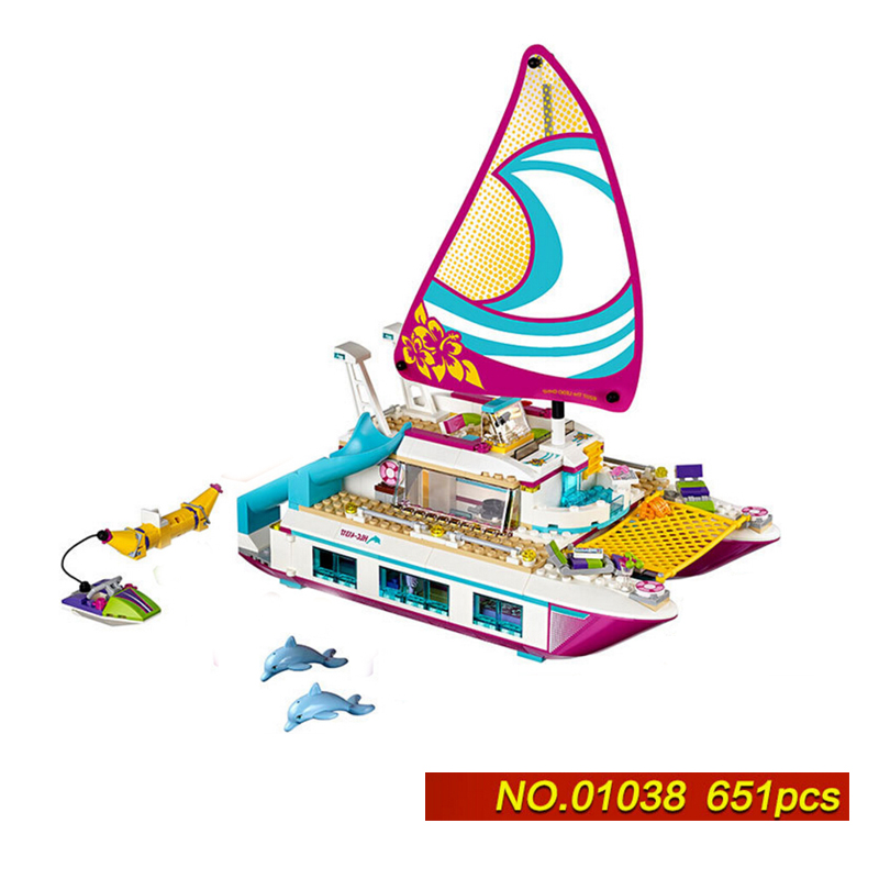 Hot my good friends girls clubs sunshine Yacht ship building block model Stephanie Dolphin figures bricks 41317 toys for kids