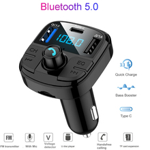 Bluetooth 5.0 MP3 Player Handsfree Car Kit FM Transmitter support TF Card U disk QC2.0 3.1A Fast Dual USB Charger Power Adapter