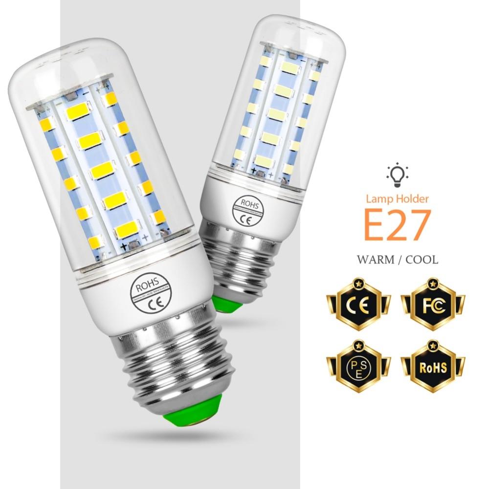 LED Lamp Corn Bulb E14 lampada 24 36 48 56 69 72leds bombillas led e27 Candle Bulb SMD5730 Lights 220V 7W 12W 15W 18W 20W 25W цена